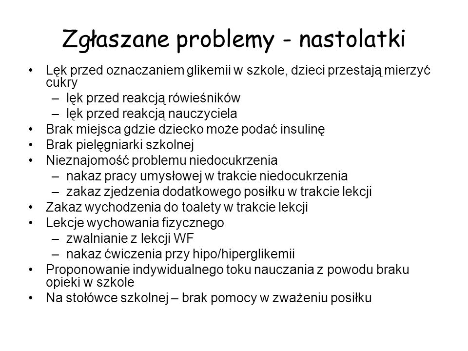 Zgłaszane problemy - nastolatki