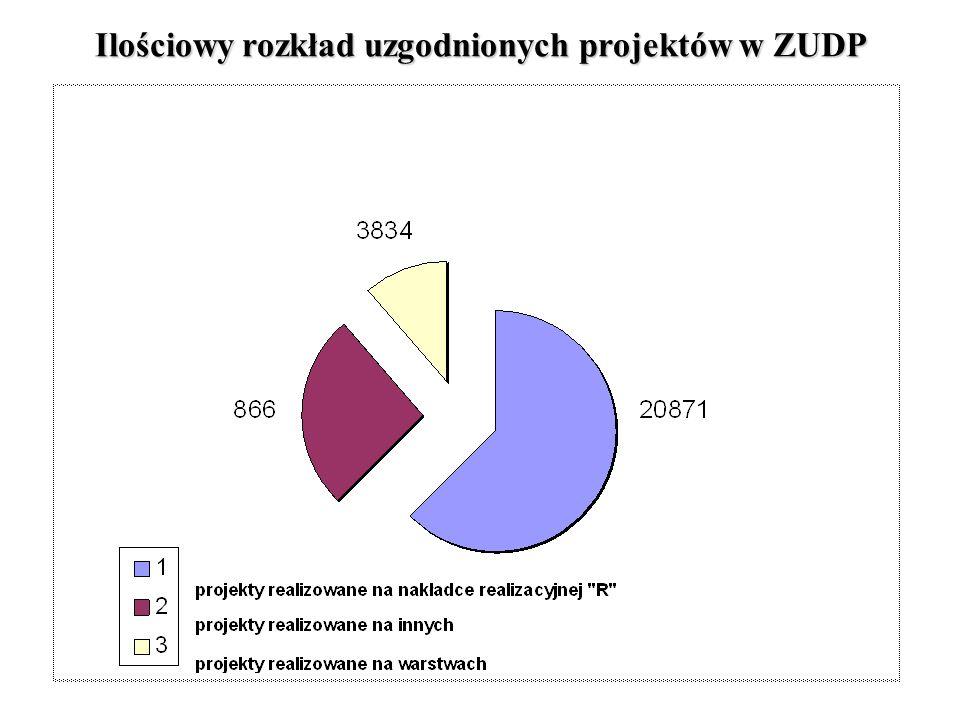 Ilościowy rozkład uzgodnionych projektów w ZUDP
