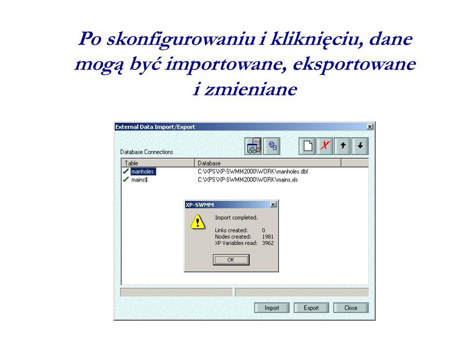 Po skonfigurowaniu i kliknięciu, dane mogą być importowane, eksportowane