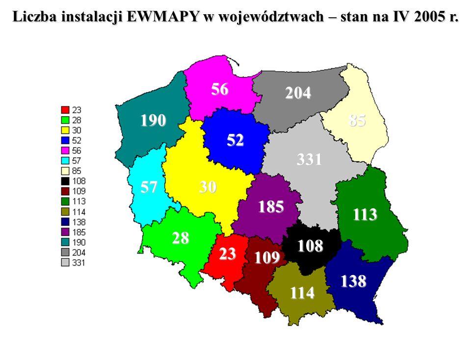 Liczba instalacji EWMAPY w województwach – stan na IV 2005 r.