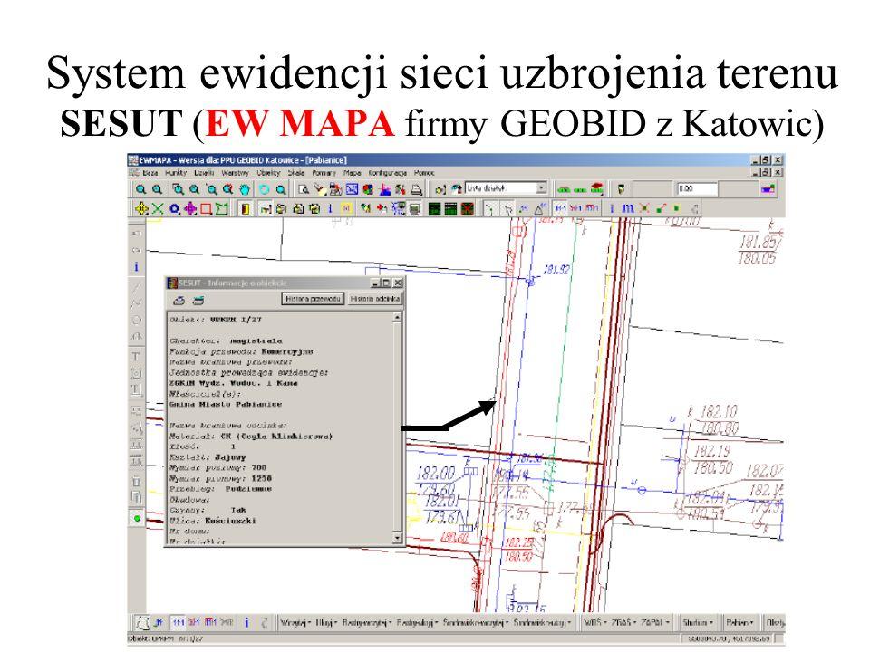 System ewidencji sieci uzbrojenia terenu SESUT (EW MAPA firmy GEOBID z Katowic)