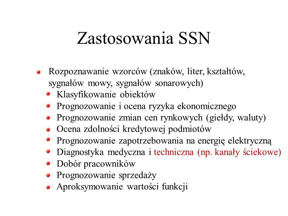 Zastosowania SSN Rozpoznawanie wzorców (znaków, liter, kształtów,