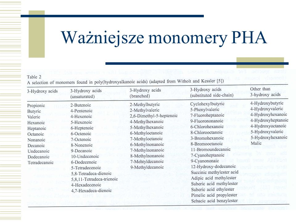 Ważniejsze monomery PHA