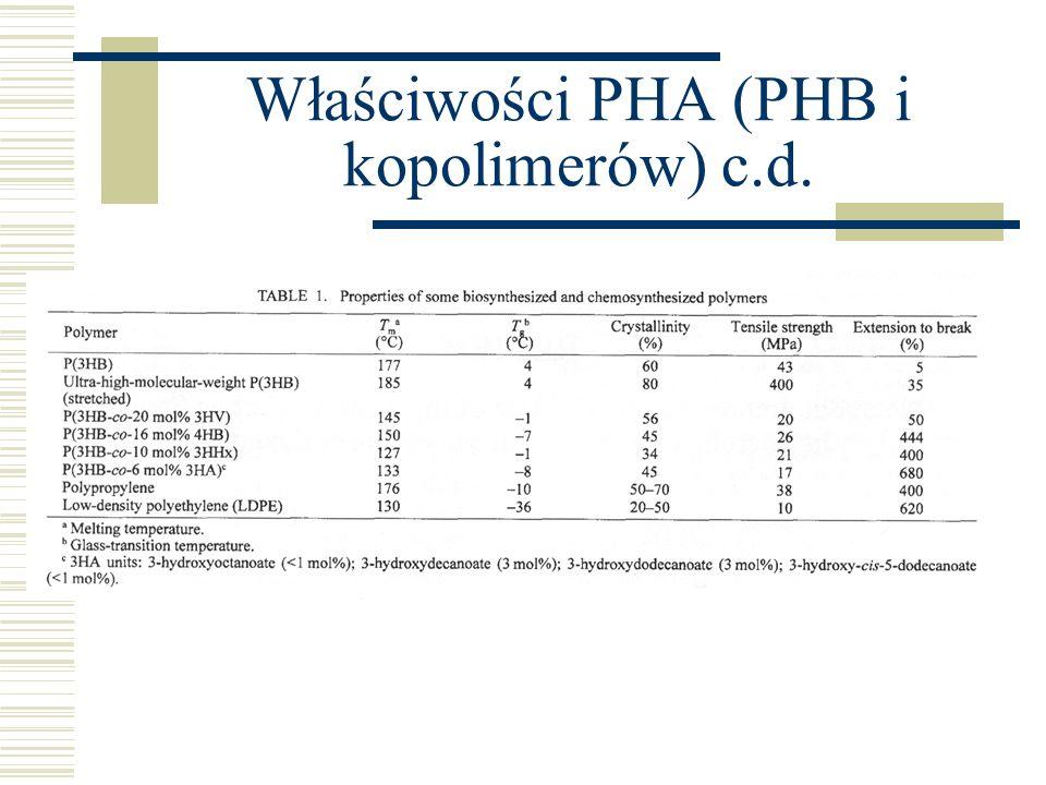 Właściwości PHA (PHB i kopolimerów) c.d.