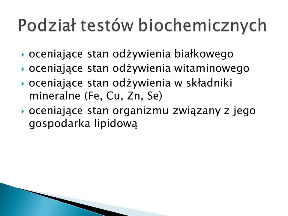 Podział testów biochemicznych