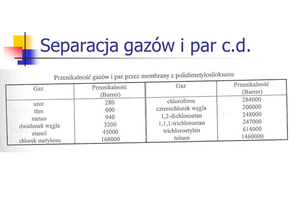 Separacja gazów i par c.d.