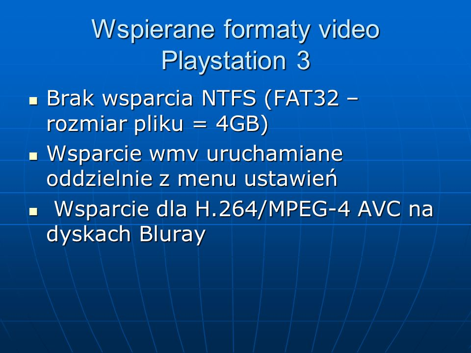 Wspierane formaty video Playstation 3