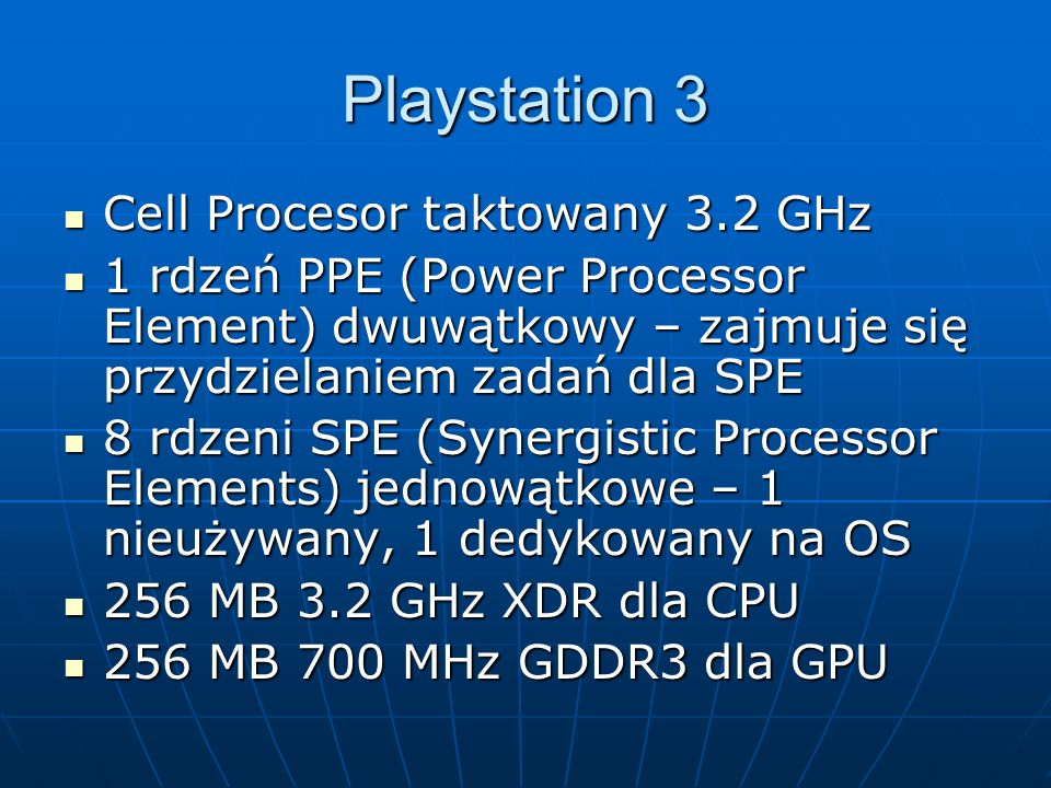 Playstation 3 Cell Procesor taktowany 3.2 GHz