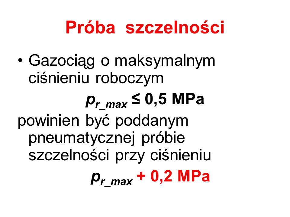 Próba szczelności Gazociąg o maksymalnym ciśnieniu roboczym