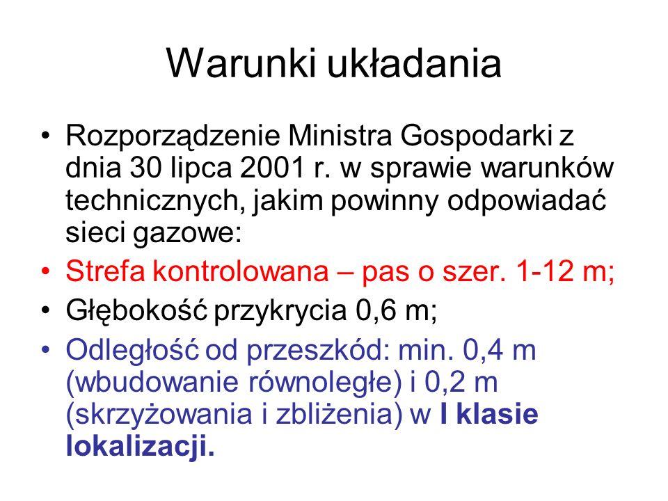 Warunki układania Rozporządzenie Ministra Gospodarki z dnia 30 lipca 2001 r. w sprawie warunków technicznych, jakim powinny odpowiadać sieci gazowe: