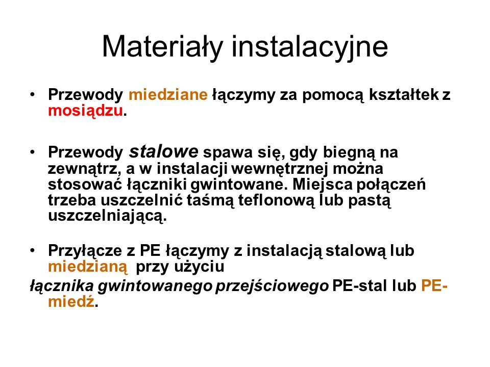 Materiały instalacyjne