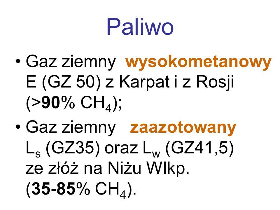 Paliwo Gaz ziemny wysokometanowy E (GZ 50) z Karpat i z Rosji (>90% CH4);