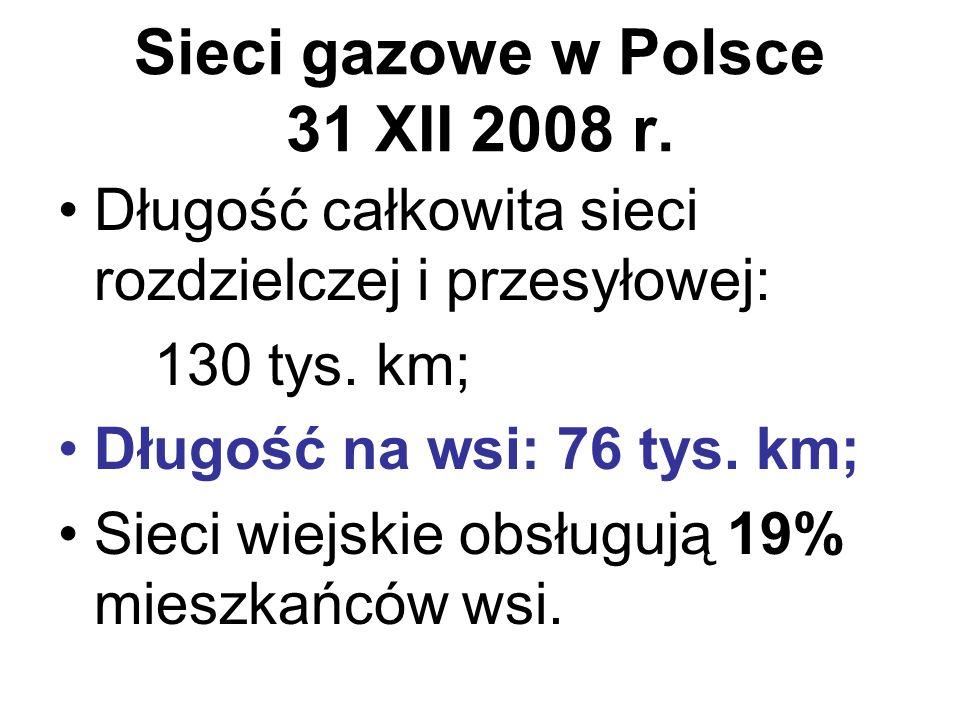 Sieci gazowe w Polsce 31 XII 2008 r.