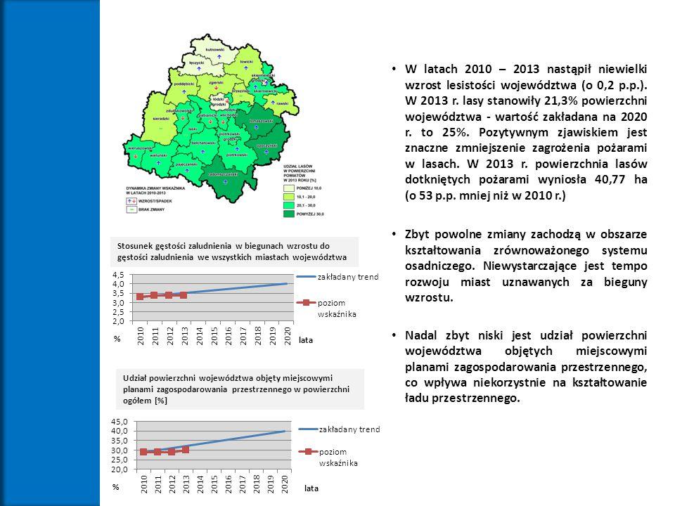 W latach 2010 – 2013 nastąpił niewielki wzrost lesistości województwa (o 0,2 p.p.). W 2013 r. lasy stanowiły 21,3% powierzchni województwa - wartość zakładana na 2020 r. to 25%. Pozytywnym zjawiskiem jest znaczne zmniejszenie zagrożenia pożarami w lasach. W 2013 r. powierzchnia lasów dotkniętych pożarami wyniosła 40,77 ha (o 53 p.p. mniej niż w 2010 r.)