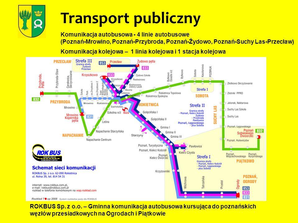 Transport publiczny Komunikacja autobusowa - 4 linie autobusowe (Poznań-Mrowino, Poznań-Przybroda, Poznań-Żydowo, Poznań-Suchy Las-Przecław)