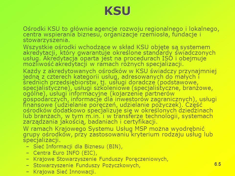 KSU Ośrodki KSU to głównie agencje rozwoju regionalnego i lokalnego, centra wspierania biznesu, organizacje rzemiosła, fundacje i stowarzyszenia.