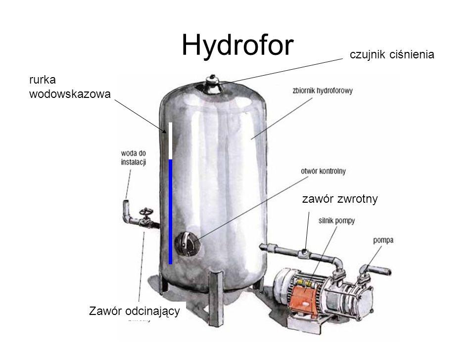 Hydrofor czujnik ciśnienia rurka wodowskazowa zawór zwrotny
