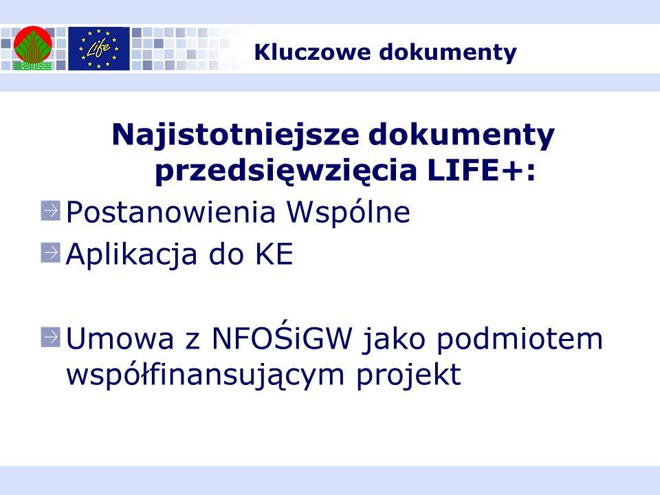 Najistotniejsze dokumenty przedsięwzięcia LIFE+: