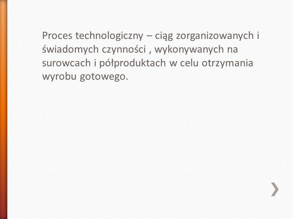 Proces technologiczny – ciąg zorganizowanych i świadomych czynności , wykonywanych na surowcach i półproduktach w celu otrzymania wyrobu gotowego.