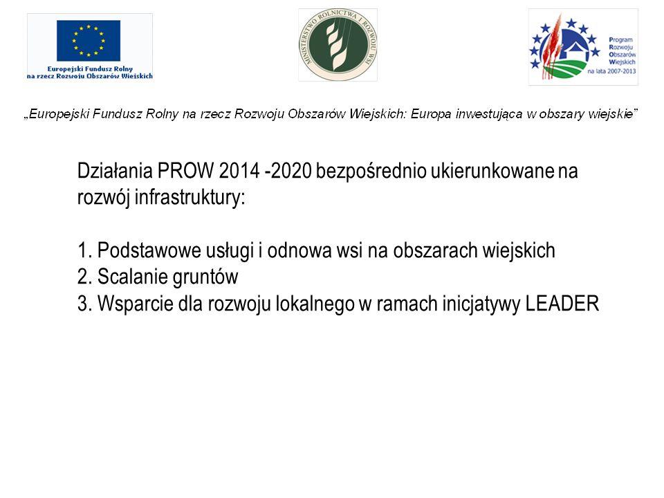Działania PROW 2014 -2020 bezpośrednio ukierunkowane na rozwój infrastruktury: 1.