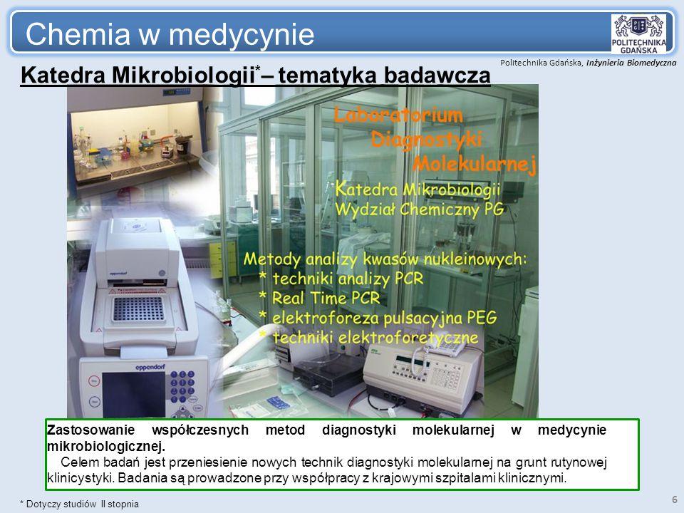 Chemia w medycynie Katedra Mikrobiologii*– tematyka badawcza