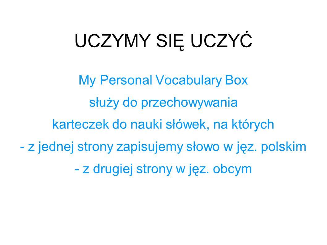 UCZYMY SIĘ UCZYĆ My Personal Vocabulary Box służy do przechowywania