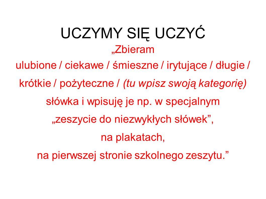 """UCZYMY SIĘ UCZYĆ """"Zbieram"""