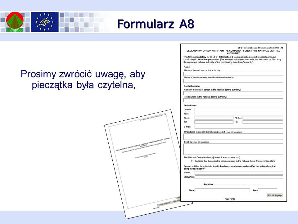 Formularz A8 Prosimy zwrócić uwagę, aby pieczątka była czytelna,