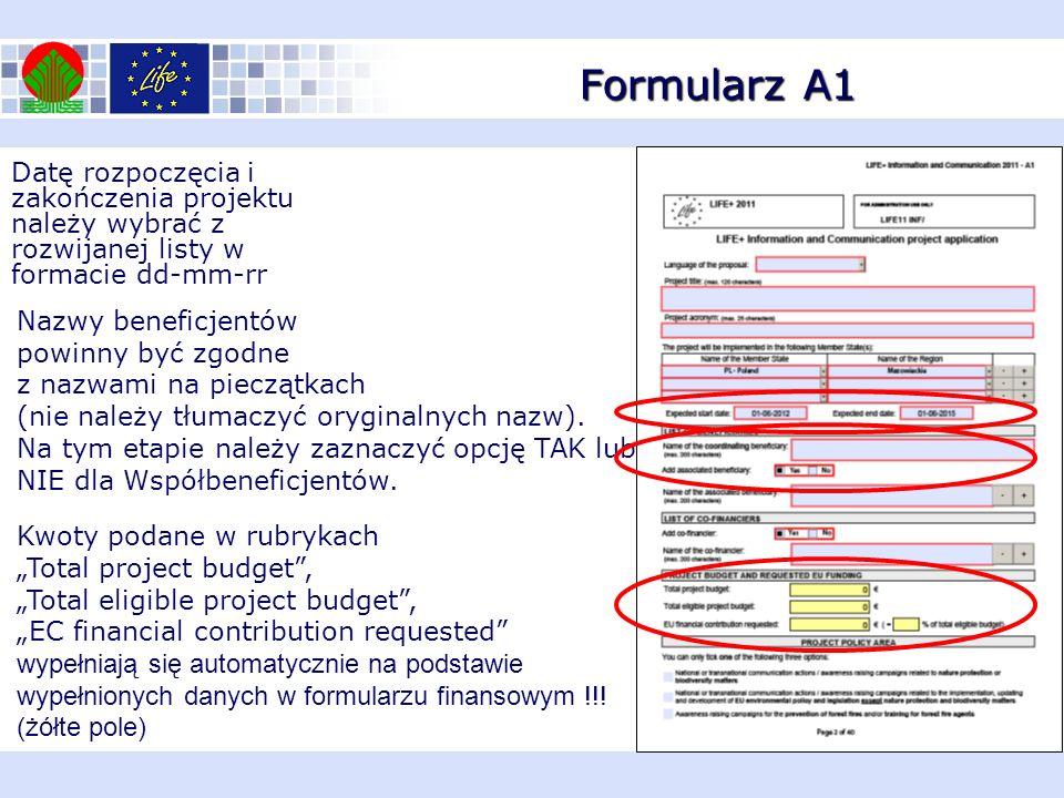 Formularz A1 Datę rozpoczęcia i zakończenia projektu należy wybrać z rozwijanej listy w formacie dd-mm-rr.