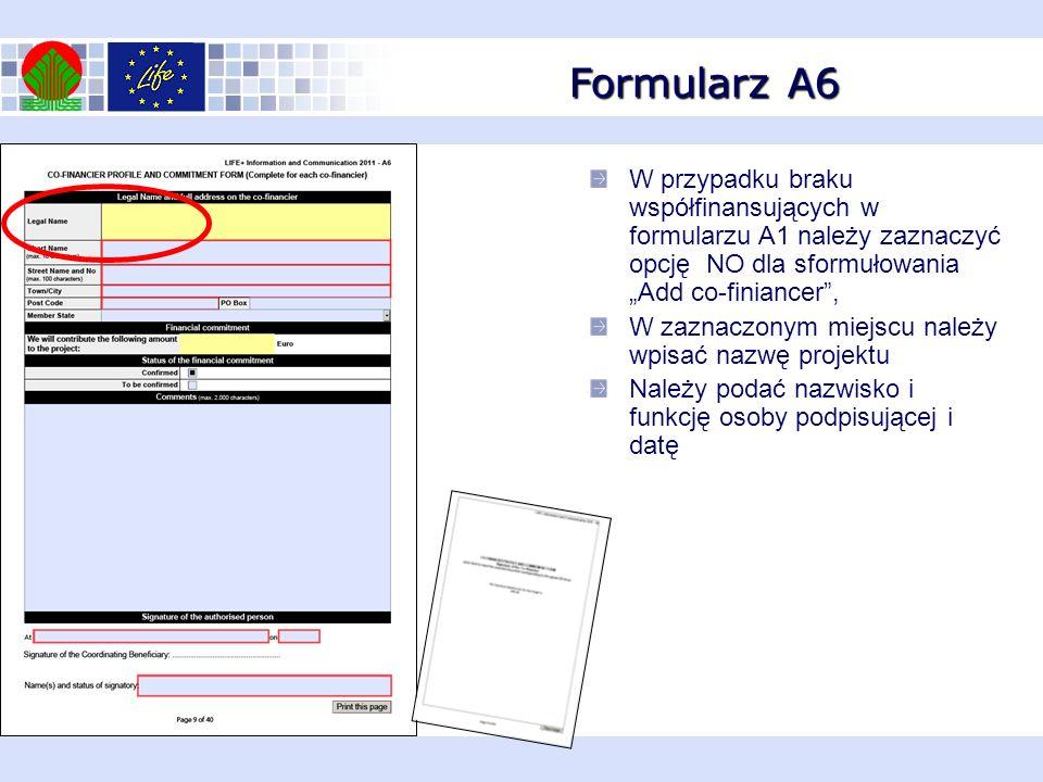 """Formularz A6 W przypadku braku współfinansujących w formularzu A1 należy zaznaczyć opcję NO dla sformułowania """"Add co-finiancer ,"""