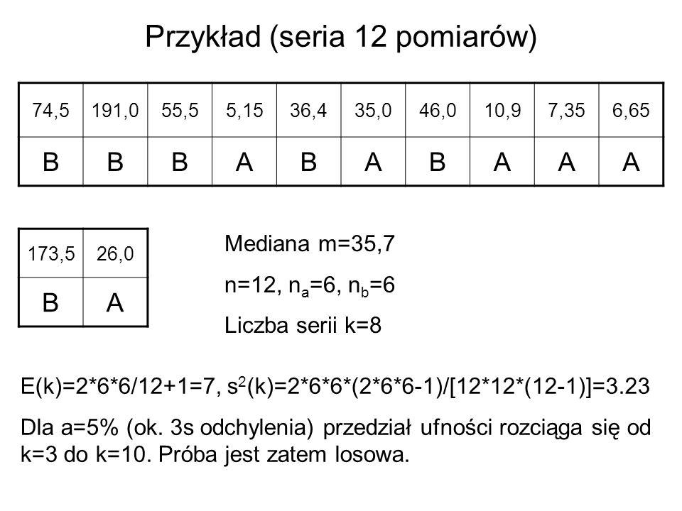 Przykład (seria 12 pomiarów)