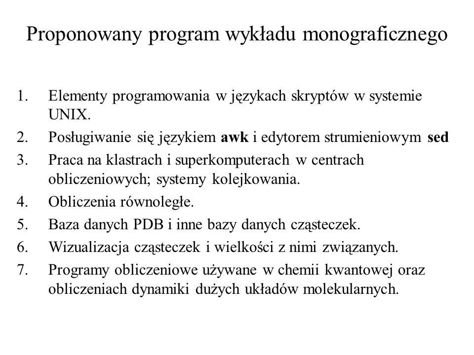 Proponowany program wykładu monograficznego