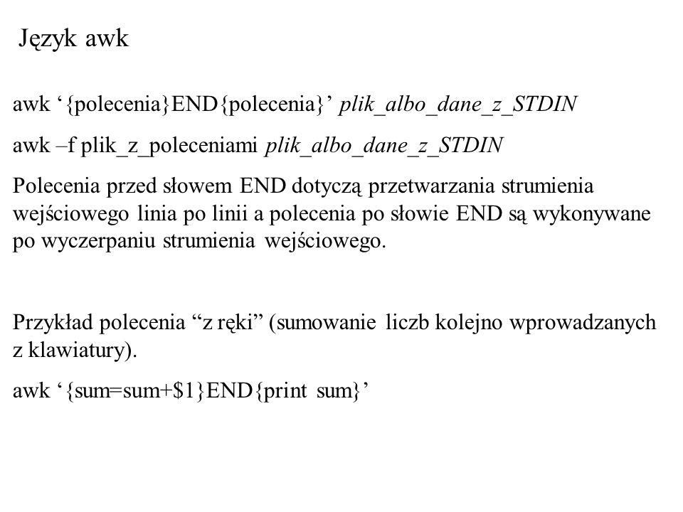 Język awk awk '{polecenia}END{polecenia}' plik_albo_dane_z_STDIN