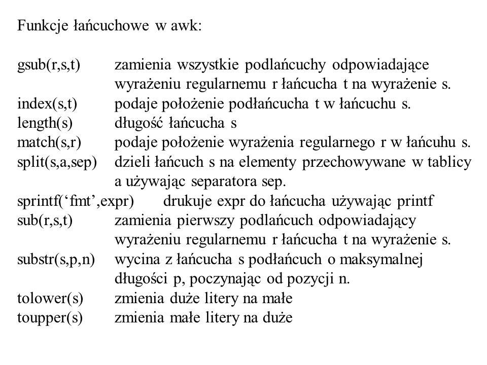 Funkcje łańcuchowe w awk: