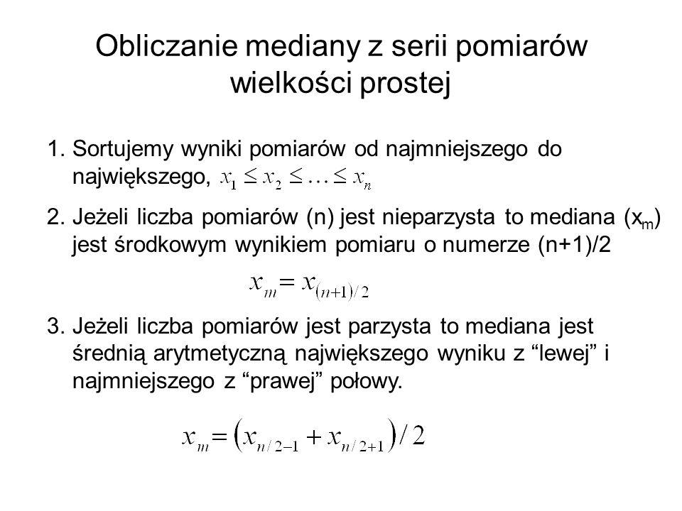 Obliczanie mediany z serii pomiarów wielkości prostej
