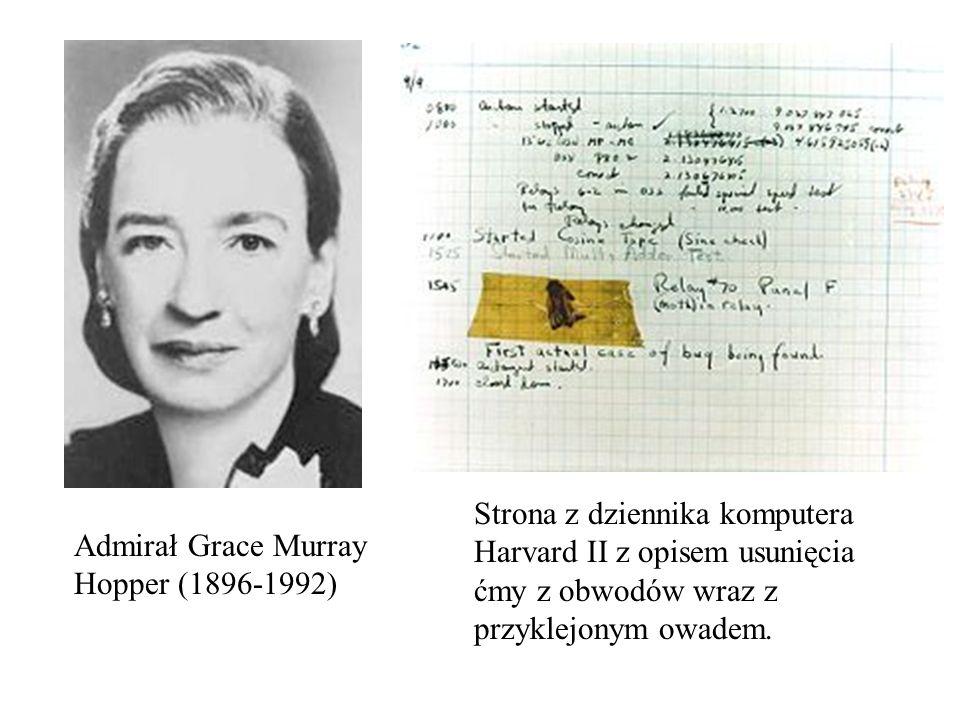Strona z dziennika komputera Harvard II z opisem usunięcia ćmy z obwodów wraz z przyklejonym owadem.