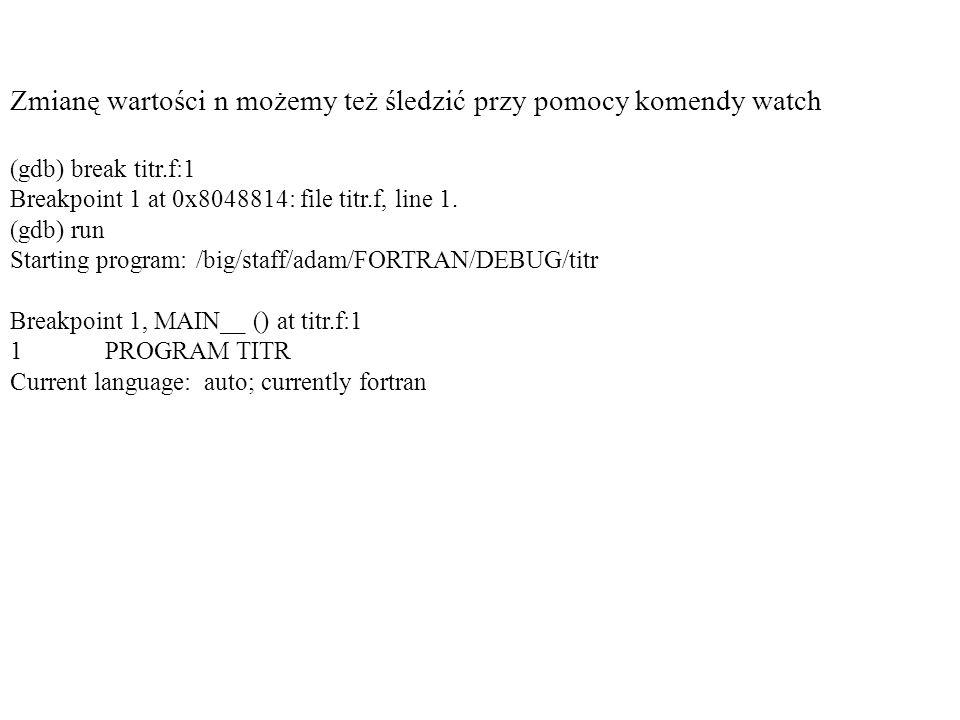Zmianę wartości n możemy też śledzić przy pomocy komendy watch