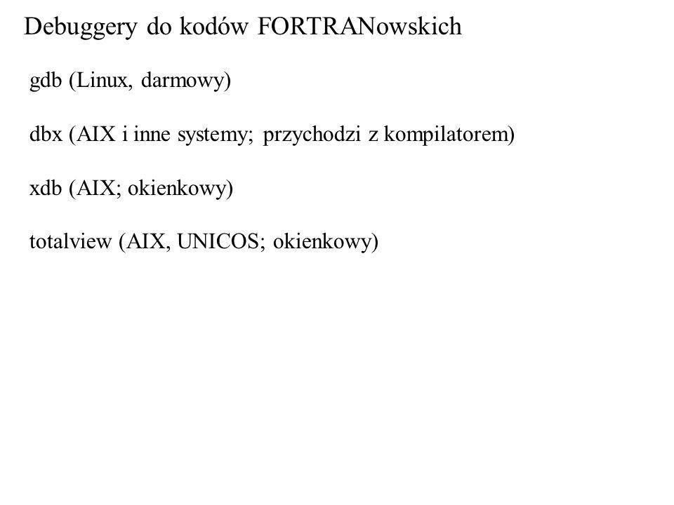 Debuggery do kodów FORTRANowskich