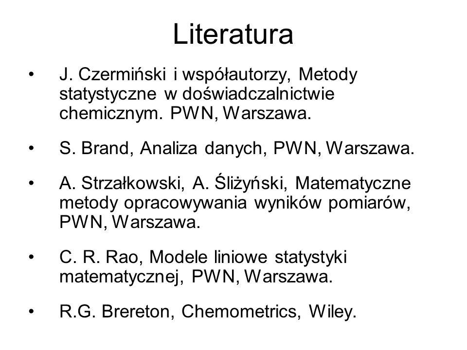 Literatura J. Czermiński i współautorzy, Metody statystyczne w doświadczalnictwie chemicznym. PWN, Warszawa.