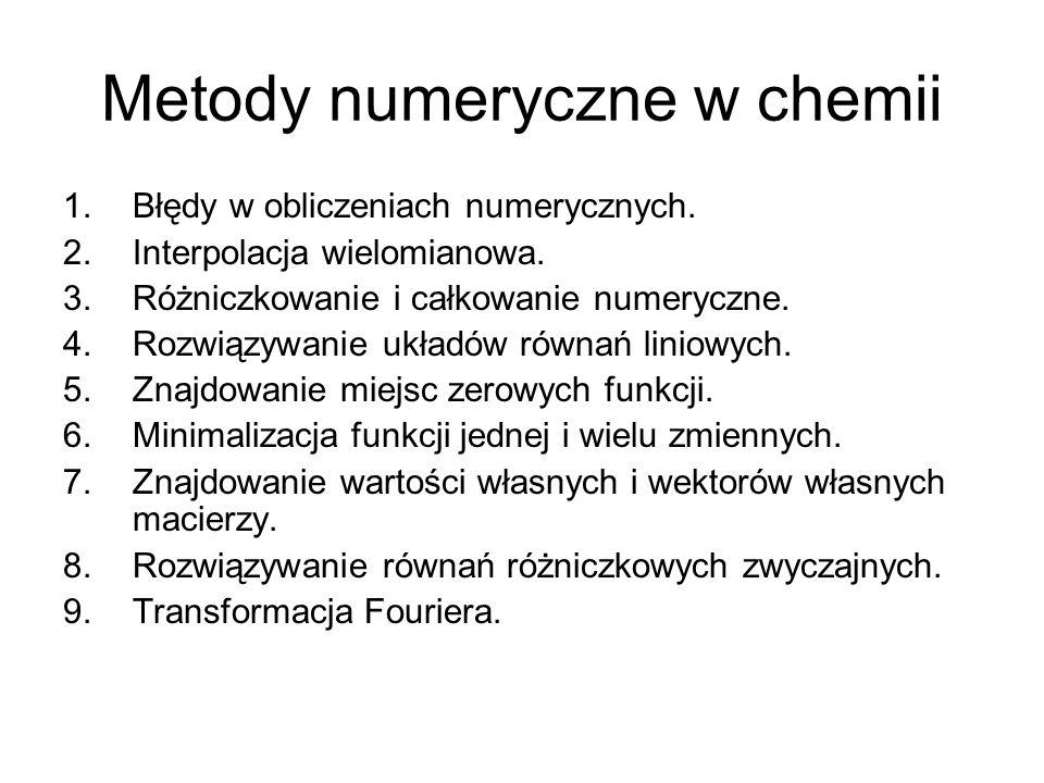 Metody numeryczne w chemii