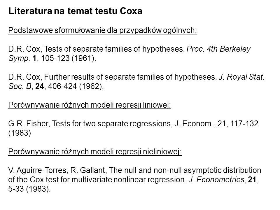 Literatura na temat testu Coxa