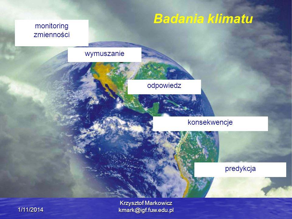 Badania klimatu monitoring zmienności wymuszanie odpowiedz