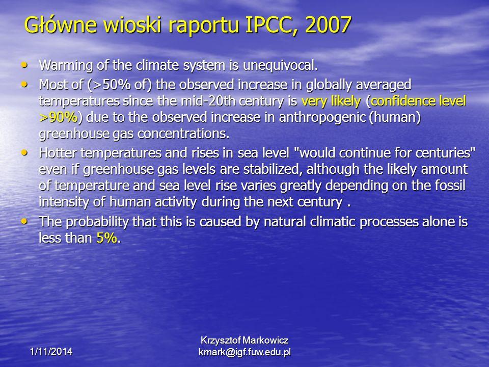 Główne wioski raportu IPCC, 2007