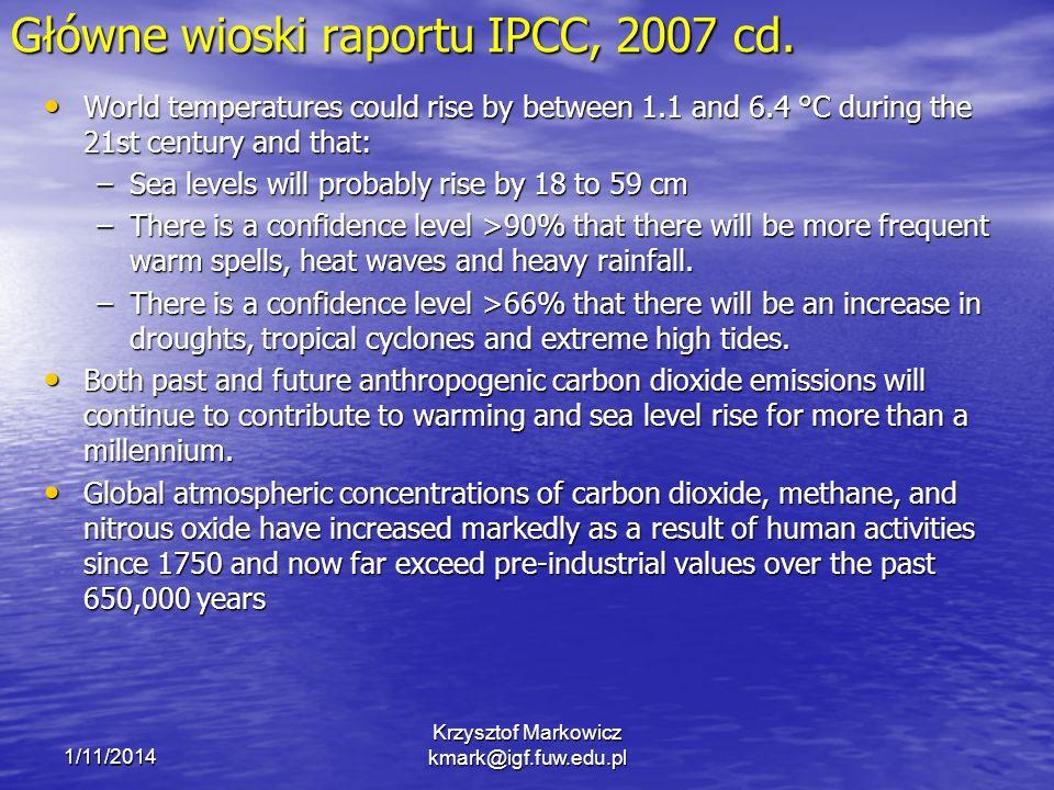 Główne wioski raportu IPCC, 2007 cd.