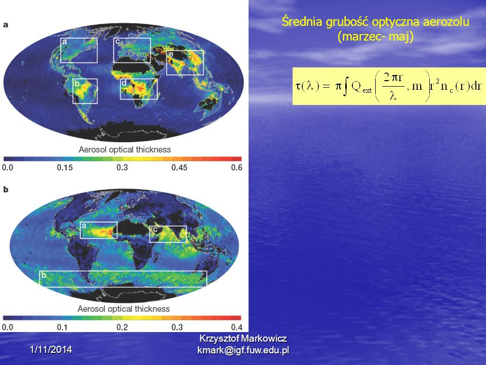 Średnia grubość optyczna aerozolu (marzec- maj)