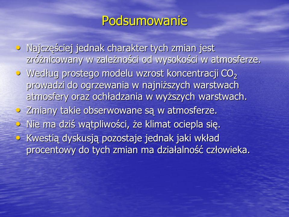 Podsumowanie Najczęściej jednak charakter tych zmian jest zróżnicowany w zależności od wysokości w atmosferze.