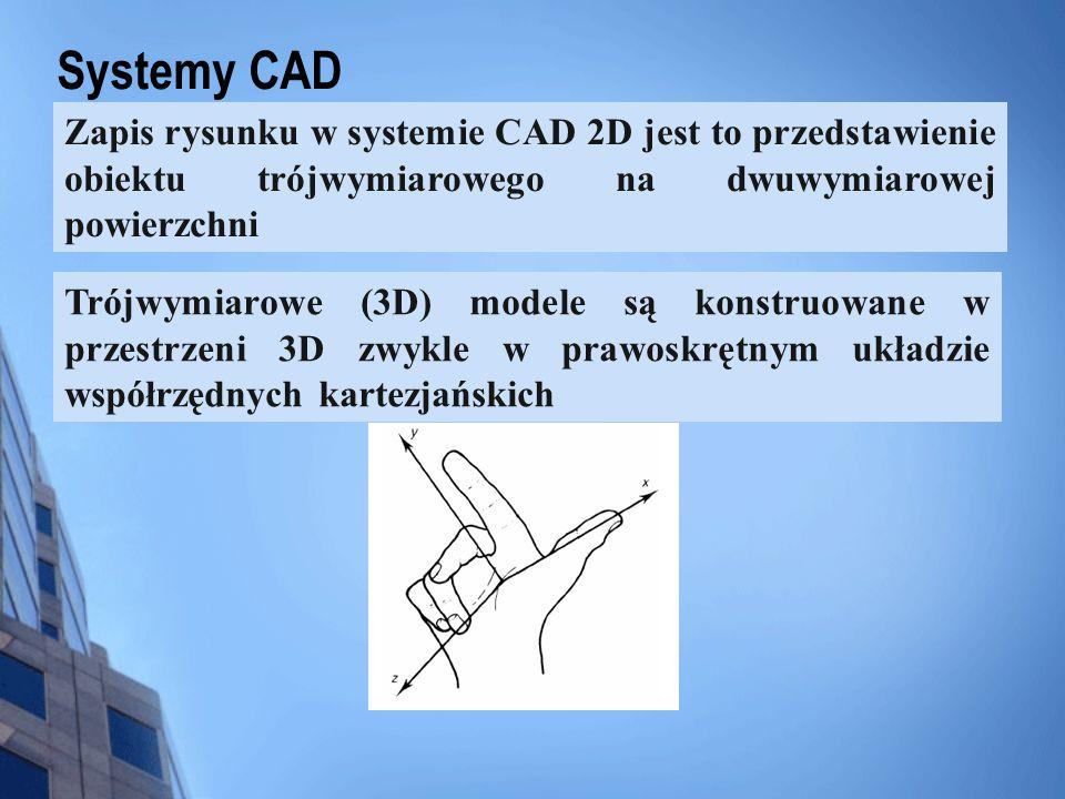 Systemy CAD Zapis rysunku w systemie CAD 2D jest to przedstawienie obiektu trójwymiarowego na dwuwymiarowej powierzchni.