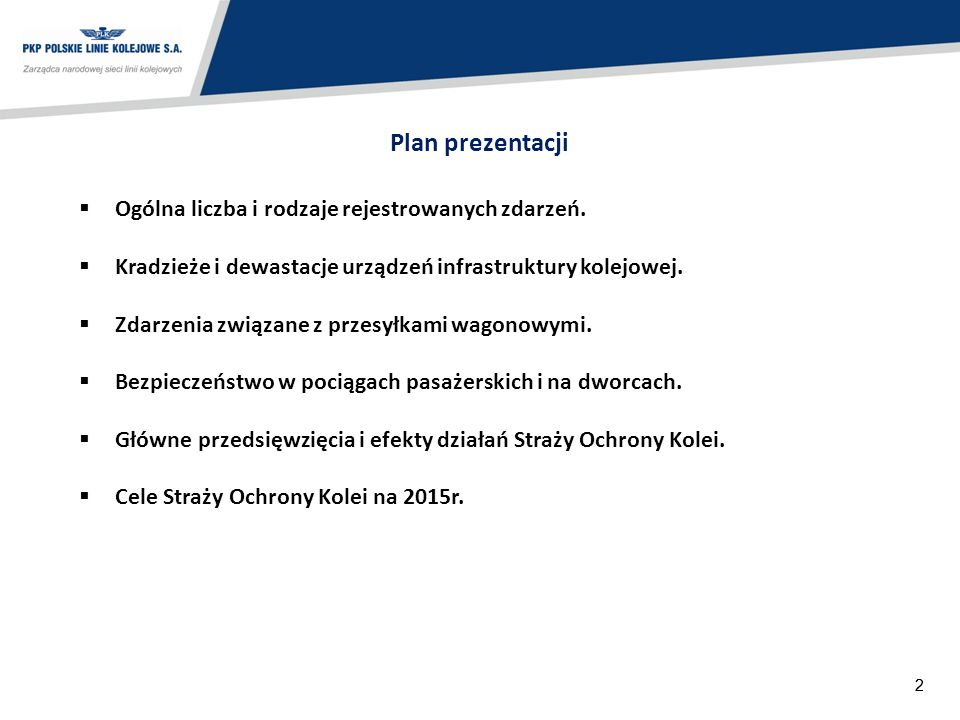 Plan prezentacji Ogólna liczba i rodzaje rejestrowanych zdarzeń.
