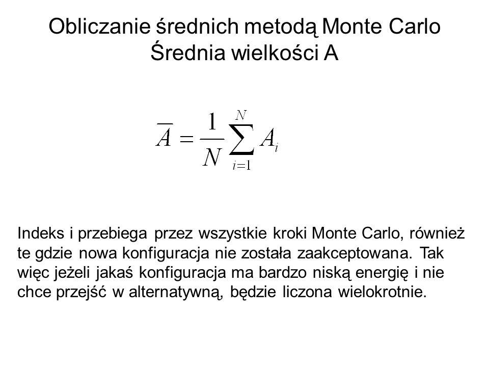 Obliczanie średnich metodą Monte Carlo Średnia wielkości A