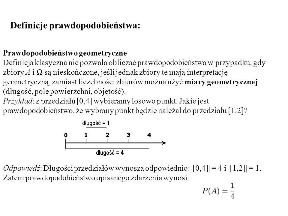 Definicje prawdopodobieństwa: